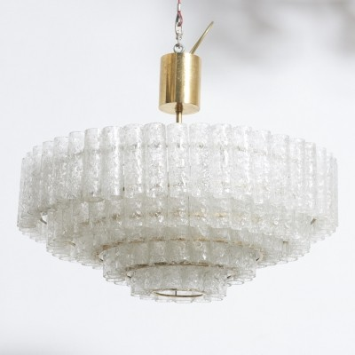 Large Five Tiers Ice Granulated Glass Tube Doria Chandelier, 1960s