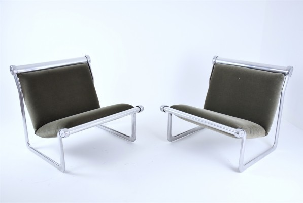 Pair of Sling Lounge Chairs by Hannah Morrison for Knoll, 1970's