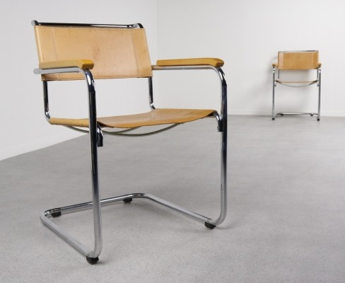 2 S34 dinner chairs from the eighties by Mart Stam for Thonet