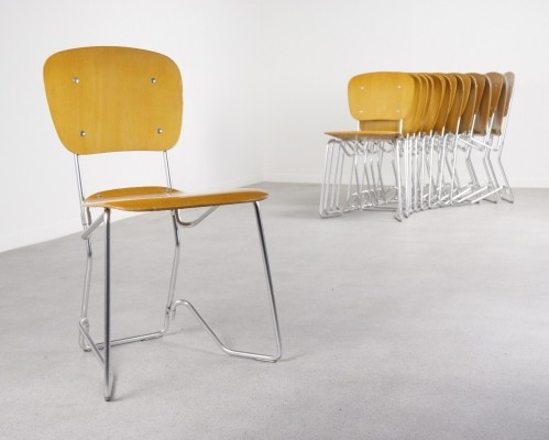 11 x Aluflex dining chair by Armin Wirth for Hans Zollinger, 1970s