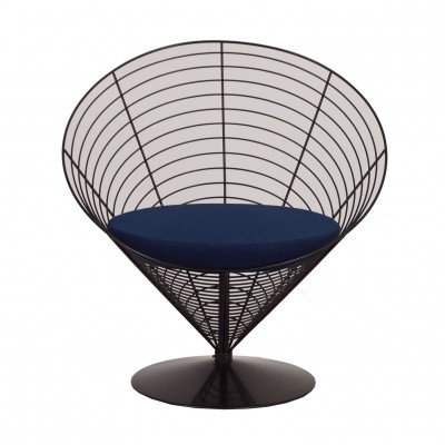 Blue Wire Cone Chair by Verner Panton for Fritz Hansen, 1988