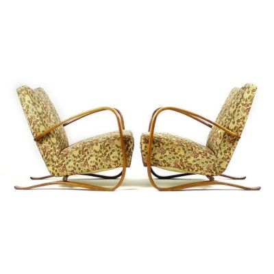 Pair of H-269 lounge chairs by Jindřich Halabala for UP Závody, 1940s