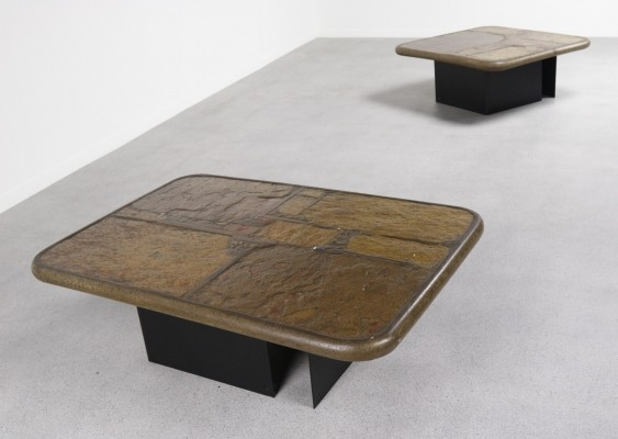 Rare set of 2 Paul Kingma brutalist coffee tables, 1994
