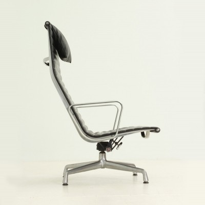 Black Leather EA124 Lounge Chair by Charles & Ray Eames