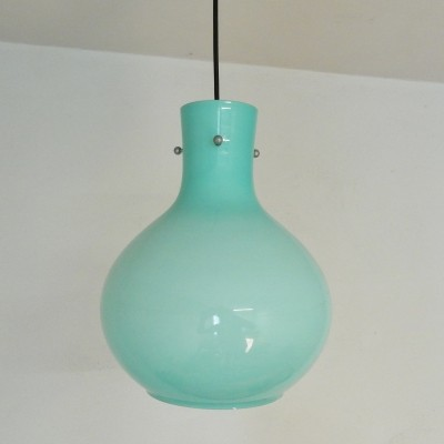 Teal glass hanging lamp, 1960s