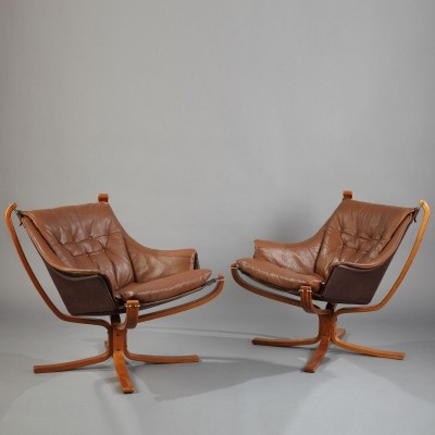 Pair of Falcon arm chairs by Sigurd Ressell for Vatne Møbler, 1970s