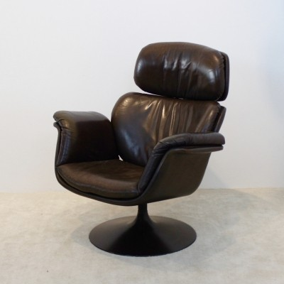 Original Artifort F545 Leather Big Tulip Chair F545 by Pierre Paulin, 1970s