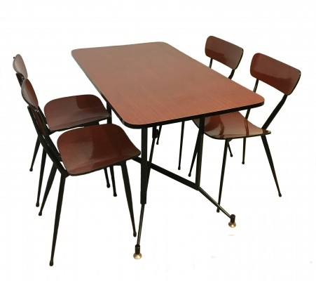 Table & four chairs in painted metal & formica by FLY, 1960s
