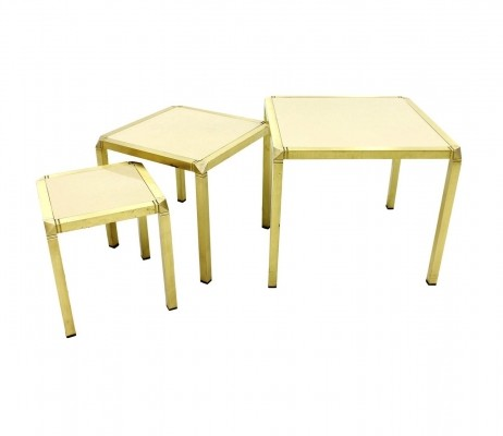 Set of three Nesting Tables in Brass & Glass by Marzio Cecchi, ca. 1970s Italy