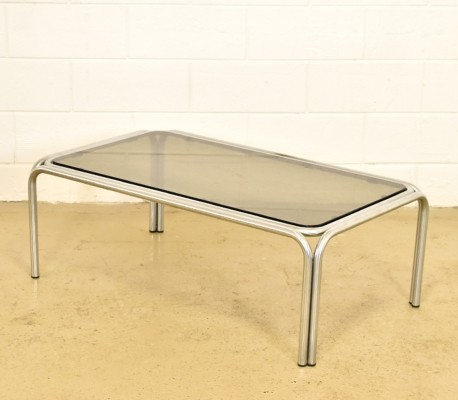 Large chrome steel tubular coffee table with smoked glass, 1970s
