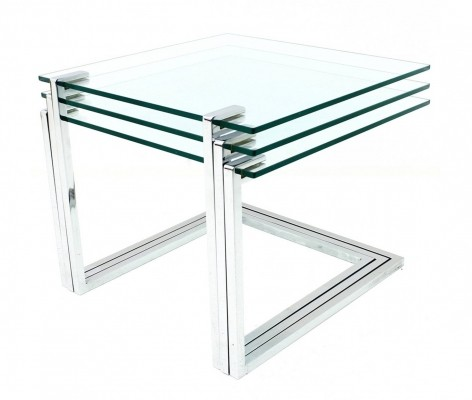 Chrome & Glass nesting tables, 1970s