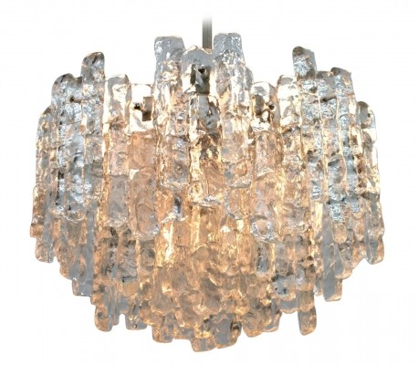 Ice Glass Chandelier hanging lamp by JT Kalmar for Kalmar, 1960s