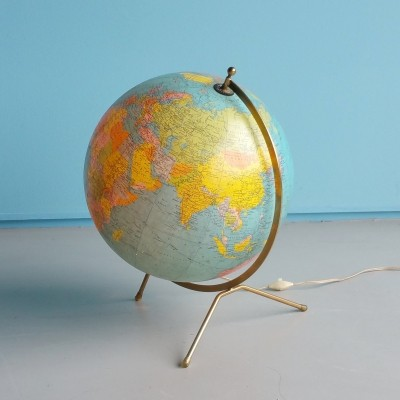Illuminated glass globe from the seventies by Cartes Taride