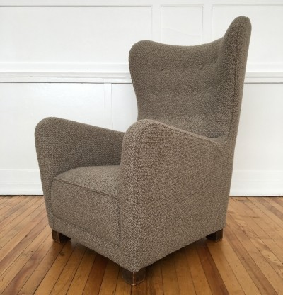 Mid Century 1940's Danish Armchair Wing Back Chair Model 1672 by Fritz Hansen in Bute Wool