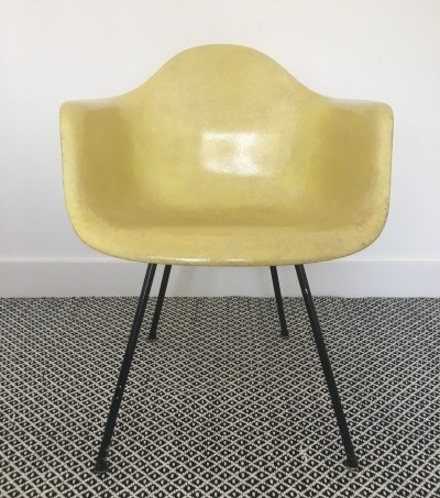 Rope Edge SAX Lemon Yellow arm chair by Charles & Ray Eames for Zenith Plastics, 1950s