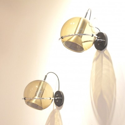 Pair of Globe wall lamps by Frank Ligtelijn for Raak Amsterdam, 1950s
