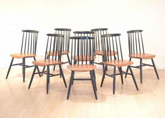 Set of 8 Fanett dinner chairs from the fifties by Ilmari Tapiovaara for unknown producer