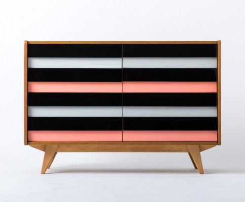 Pink & Black U-450 chest of drawers by Jiří Jiroutek for Interier Praha, 1960s