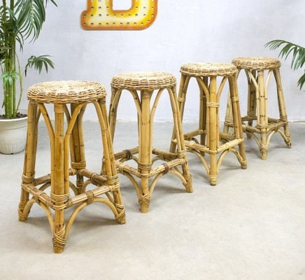 4 Rattan stools from the sixties by unknown designer for Rohé Noordwolde
