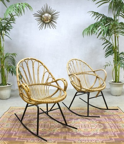 2 x rattan rocking chair by roh noordwolde 1960s