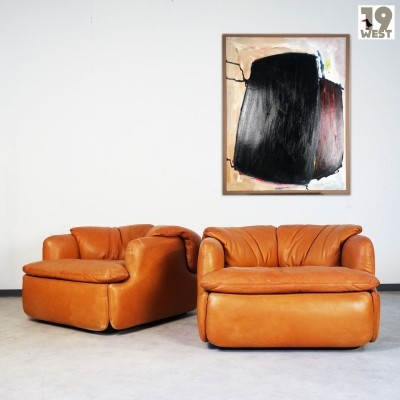 Set of 2 Confidential lounge chairs from the seventies by Alberto Rosselli for Fratelli Saporiti