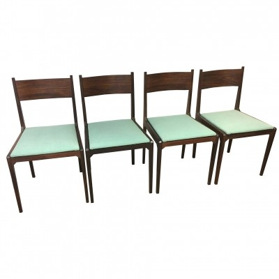 4 x Rosewood chair with seat in green water moleskin, 1960s