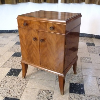 Art Déco Nightstand with glass top, 1920s