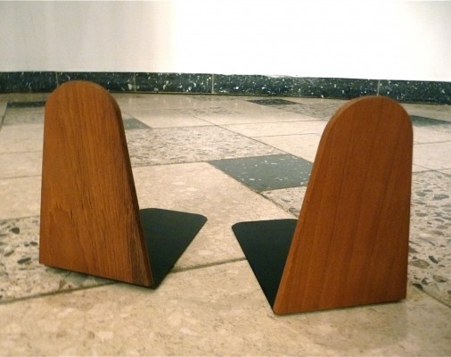 Danish Teakwood & Metal Bookends, 1950s