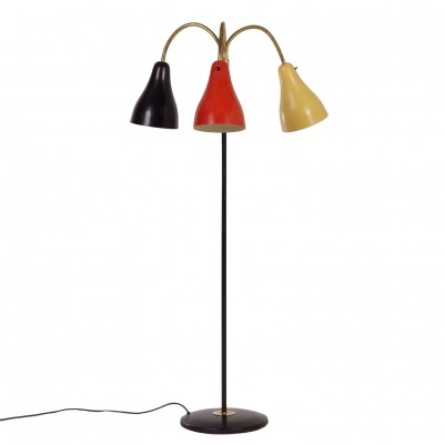 Fifties Hagoort Floor Lamp in the Rietveld Colors Black, Red & Yellow