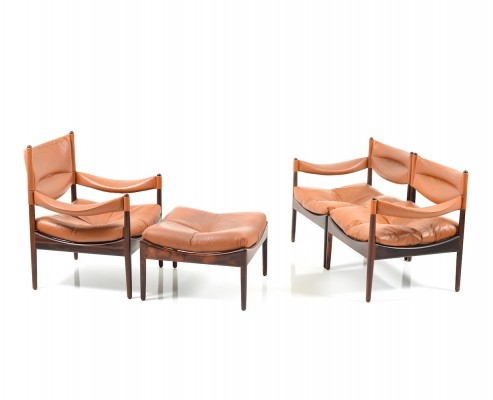 Two Seats Sofa & Lounge Chair with Ottoman in Rosewood by Kristian Vedel