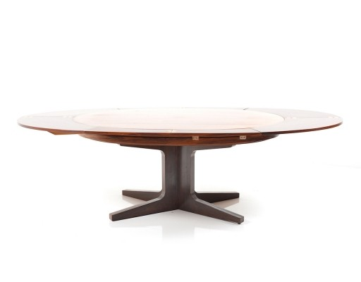 Rare & fantastic big Dyrlund Smith 'Flip Flap' Dining Table in Rosewood, 1960s
