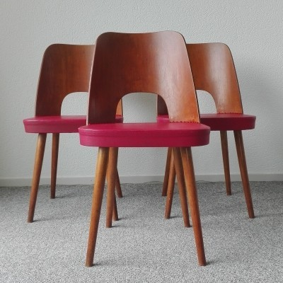 Set of 3 vintage dinner chairs, 1950s
