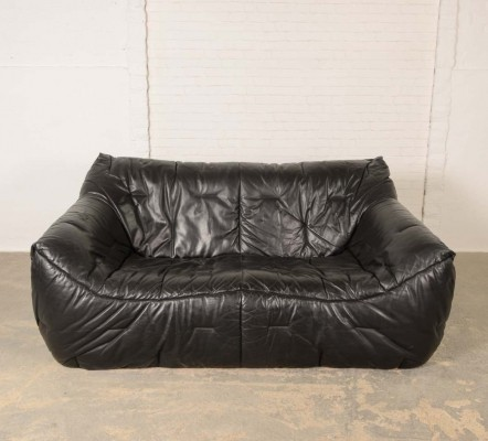 Leather Soft Shell Sofa by Roche Bobois, 1980s