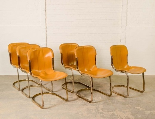 Mid-Century Brass Leather Dining Chairs by Willy Rizzo for Cidue, 1960s