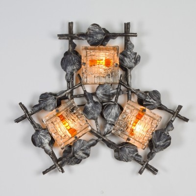 Giant wall sconce with 3 lamps, 1960s