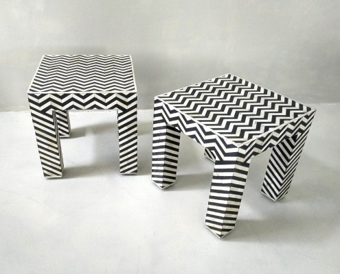Op art pattern geometric black & white side tables, 1980s