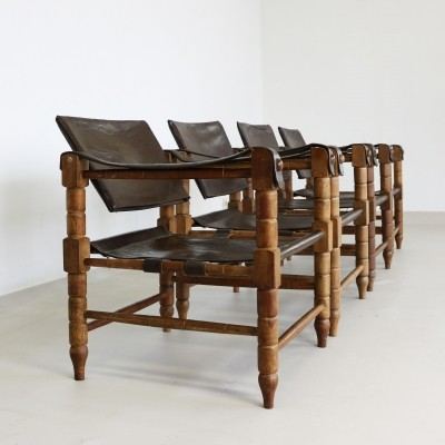 Stunning set of four safari chairs in leather, 1960s