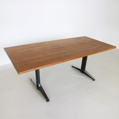 Industrial massive teak working table, 1960s