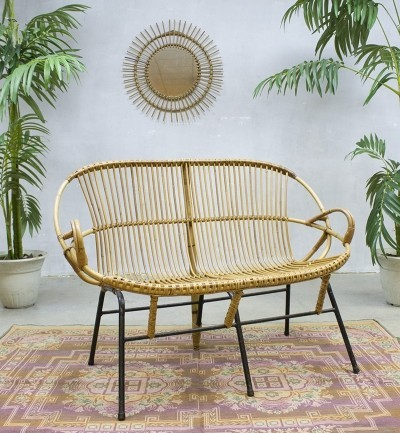 Rattan bench from the sixties by unknown designer for Rohé Noordwolde