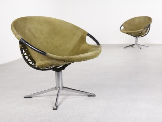 Rare Circle swivel lounge chairs by Lusch Germany, 1960s
