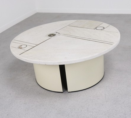 White slate coffee table by Paul Kingma for Kingma, 1980s