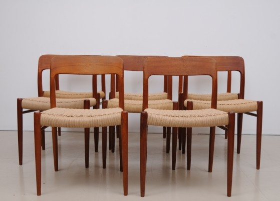 Set of 8 Nr. 75 dinner chairs by Niels Otto Møller for J L Møller, 1950s