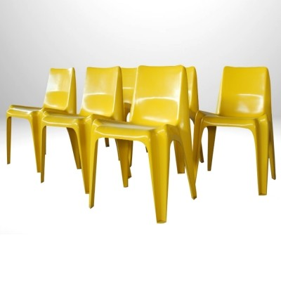 Set of 6 Yellow BA1171 dining chairs by Helmut Bätzner for Bofinger, 1960s