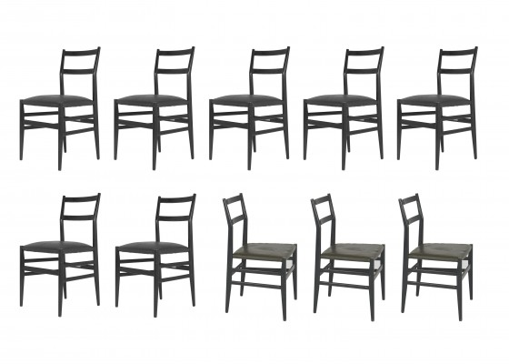 Set of 10 Leggera No. 646 Chairs by Gio Ponti for Cassina, 1952
