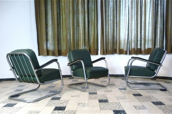 Set of 3 Club Möbel Serie lounge chairs by Mauser, 1930s
