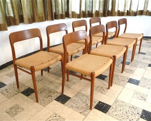 Set of 8 Teak Model No. 75 dining chairs by Niels Otto Møller for JL Møllers Møbelfabrik, 1950s