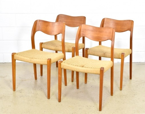 Set of 4 Model 71 dinner chairs by Niels Otto Møller for J L Møller, 1960s