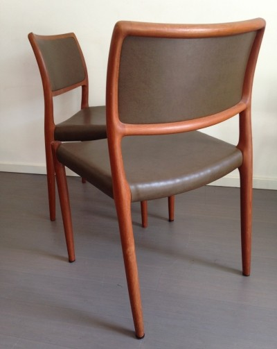 Pair of Model 80 dining chairs by Niels O. Møller for JL Møllers Møbelfabrik, 1960s