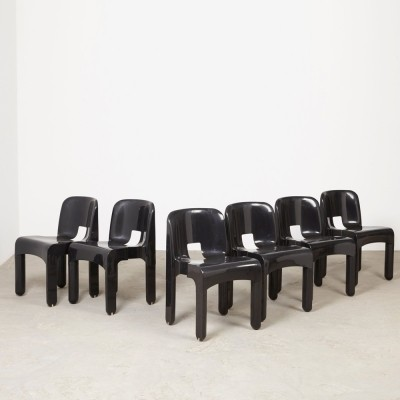 Set of 6 Universale 4867 dining chairs by Joe Colombo for Kartell, 1960s