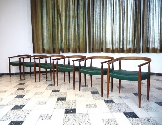Set of 6 Model No. 113 dinner chairs by Nanna Ditzel for Poul Kolds Savvaerk, 1950s